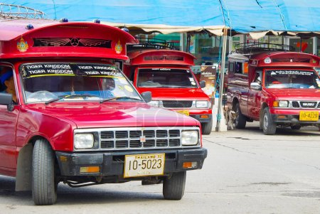 Cars on bus station