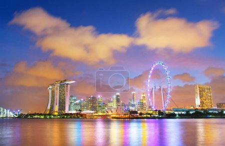 Skyline of Singapore at twilight
