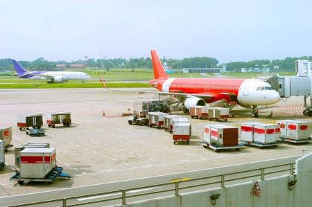 Loading of airplane in progress