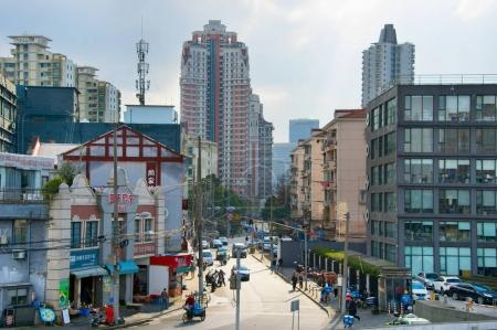 SHANGHAI, CHINA - DEC 27, 2017: View of Shanghai street on the day. Shanghai is the most populous city in the world, with a population of more than 24 million