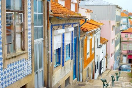 Typical empty Porto street in the day. Portugal