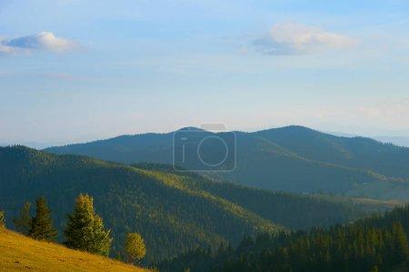 Beautiful Carpathians Mountains at sunset. Romania
