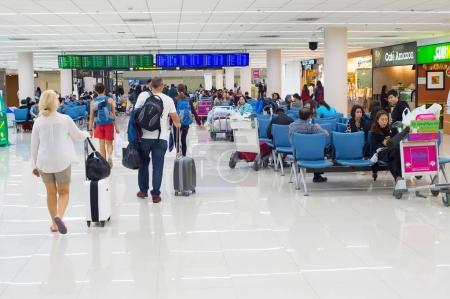 Passengers waiting at Don Mueang airport