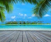 """Постер, картина, фотообои """"красивый пляж в Мальдивах"""""""