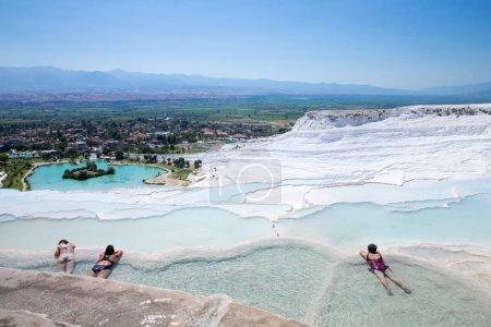 Tourists on Pamukkale Travertine pools