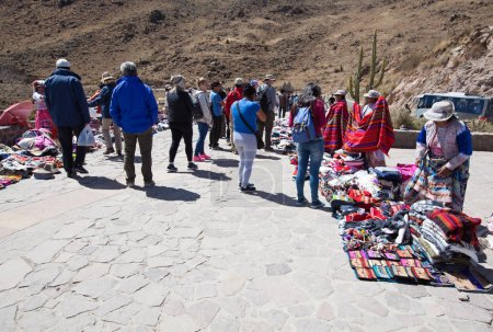 Tourists watching condors in the Colca