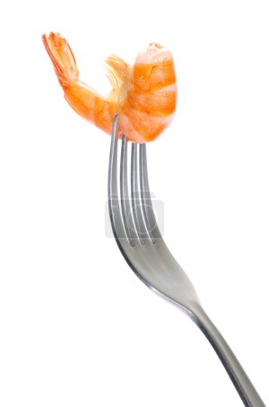 Photo for Shrimp on fork over white background - Royalty Free Image