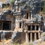 Ancient rock-cut tombs in Myra, Demre, Turkey...