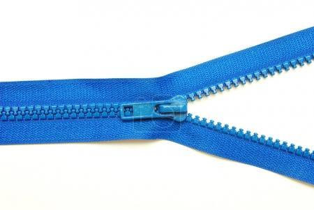Unzipped blue metal zipper