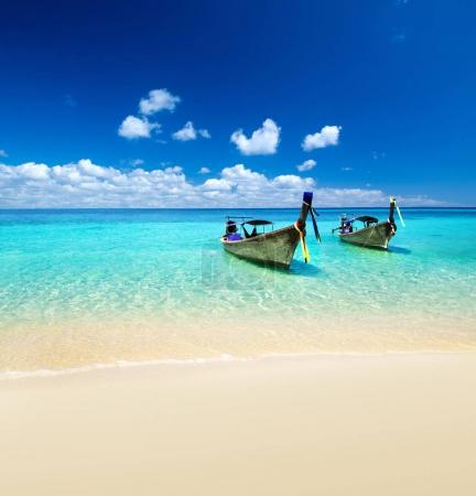 Photo for Beach and tropical sea with boats - Royalty Free Image