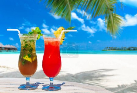 Photo for Two cocktails with blur beach on background - Royalty Free Image