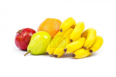 Composition of fruits on white background