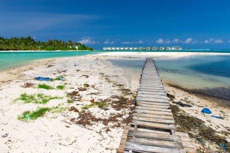Pollution on the sandy beach of tropical sea