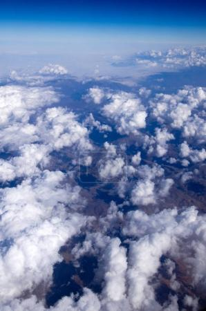 Aerial sky and cumulus clouds background