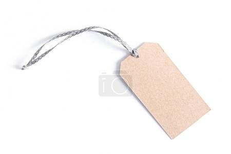Blank tag tied with string. Price tag