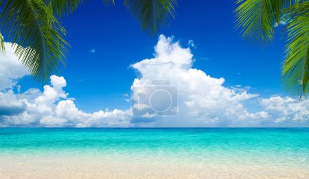 tropical beach with clean sea and blue sky in Maldives