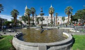 PERU, AREQUIPA - NOVEMBER 09, 2015: Main square of Arequipa with church