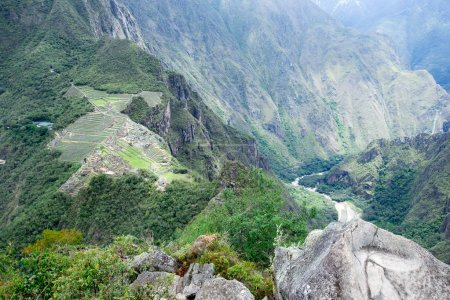 view of Machu Picchu ruins, UNESCO world heritage site