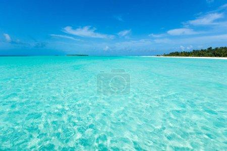 Photo pour Tropical island Maldives avec plage de sable blanc et mer. - image libre de droit