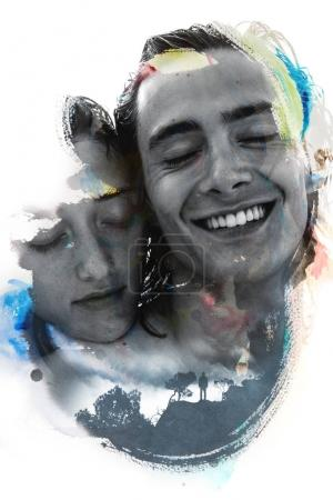 Young couple imposed on brushstroke