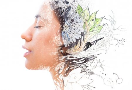 Unique double exposure of female portrait and hand drawn painting
