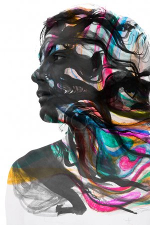 Photo for Multi exposure portrait of male face combined with hand drawn painting techniques - Royalty Free Image