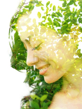 Photo for Double exposure with an ecological concept showcasing the beautiful feminine nature of plants - Royalty Free Image