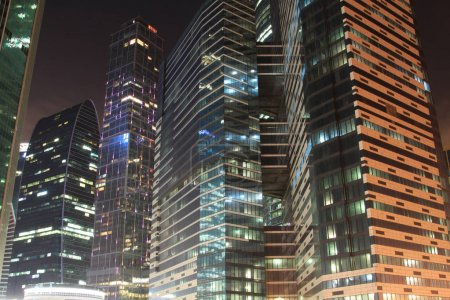 office buildings by night