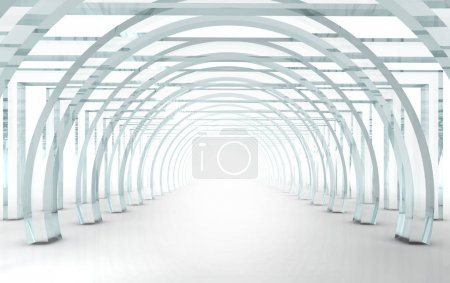Photo for Bright glass corridor or tunnel in 3D rendered perspective - Royalty Free Image