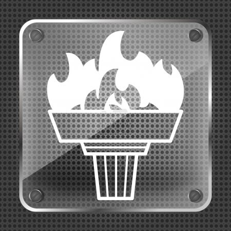 Glass torch icon with flame
