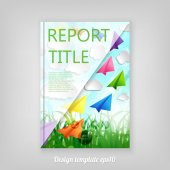 Abstract spring cover design with paper airplanes and clouds on a Natural green abstract Background Brochure Design Cover Corporate Leaflet Template  Business brochure document layout for company presentations
