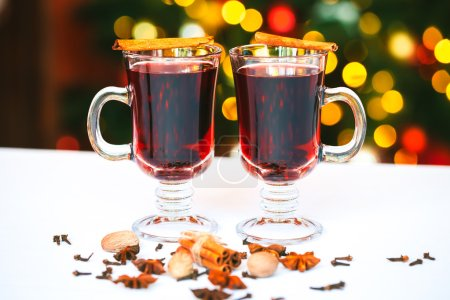 Beautiful two glasses of mulled wine