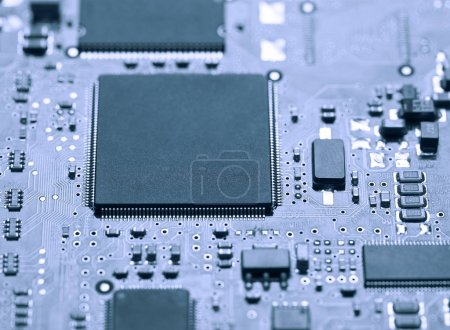 Photo for Closeup of Electric Circuit board background - Royalty Free Image