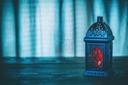 blue background with lantern