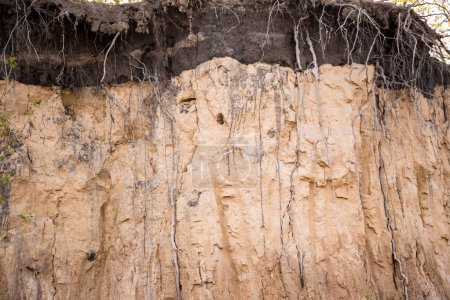 layers of the earth in a clay pit