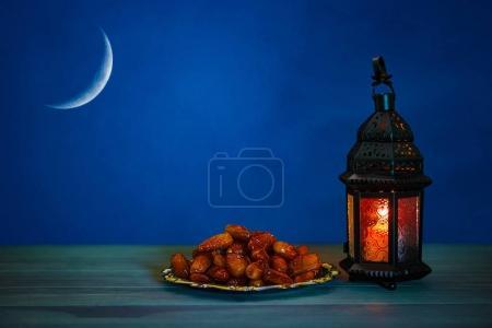 shining lantern Fanus on table greeting card
