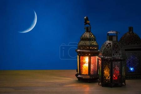 shining lanterns Fanus on table greeting card