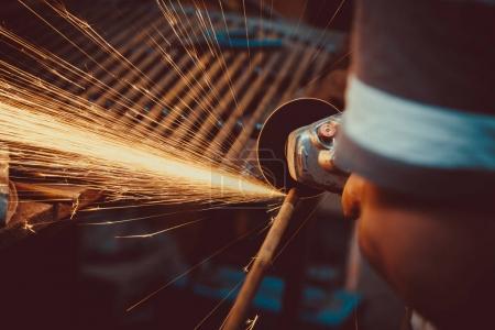 Sparks during cutting metal