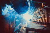 Welding Work. Erecting Technical Steel