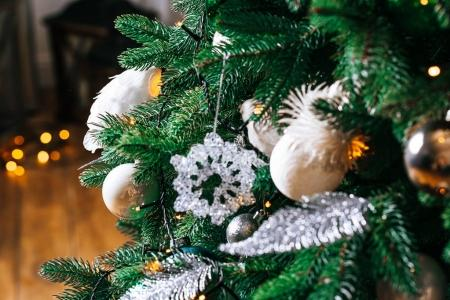 Photo for Decorated living room with Christmas tree and gifts - Royalty Free Image
