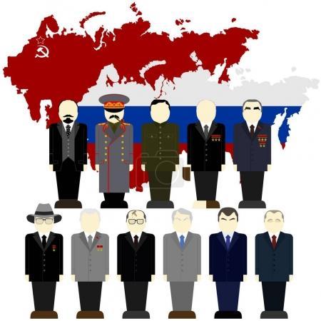 Photo pour Les dirigeants de l'URSS et la Russie (1917 à l'heure actuelle), sur le fond de la carte de la Russie. L'illustration sur fond blanc. - image libre de droit