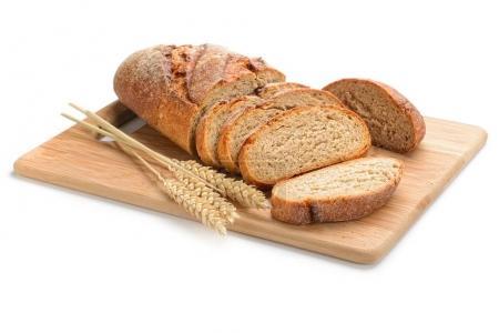 fresh sliced bread on white