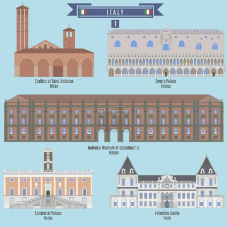 Famous Places in Italy: Basilica of Saint Ambrose - Milan, Doges Palace - Venice, National Museum of Capodimonte - Napoli, Senatorial Palace - Rome, Valentino Castle - Turin