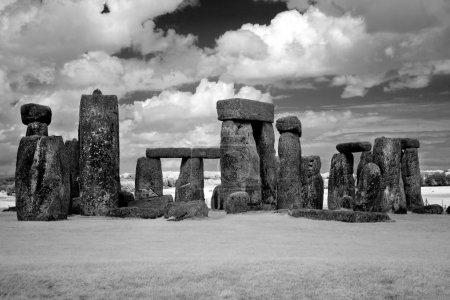 Stonehenge historic site under cloud sky. Stonehenge is a UNESCO