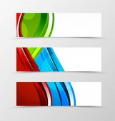 Set of header banner dynamic wave design with green blue and red lines and transparent circles in digital style Vector illustration