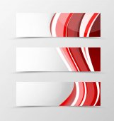 Set of header banner wavy design with red lines in dynamic style Vector illustration