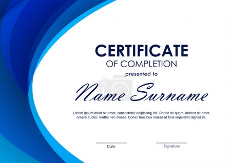Illustration for Certificate of completion template with blue futuristic wavy background. Vector illustration - Royalty Free Image