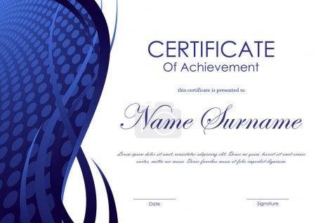 Illustration for Certificate of achievement template with blue digital circle surface wavy background. Vector illustration - Royalty Free Image