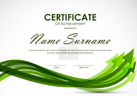 Illustration for Certificate of achievement template with green dynamic arrows background. Vector illustration - Royalty Free Image