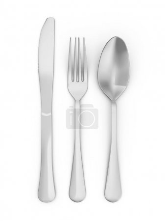 Photo for Spoon, fork and knife on white background. 3d illustration. - Royalty Free Image